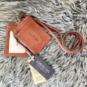 NWT genuine leather 2 wallet lanyard with ID slot